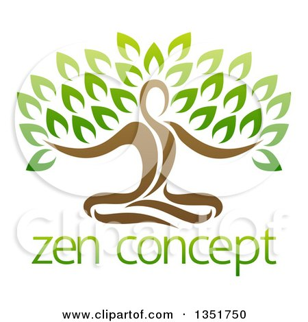 Clipart of a Brown Person Meditating and Forming the Trunk of a Tree over Sample Text - Royalty Free Vector Illustration by AtStockIllustration