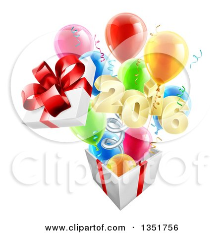 Clipart of a 3d Gold New Year 2016 Popping out of a Gift on a Spring, with Party Balloons - Royalty Free Vector Illustration by AtStockIllustration