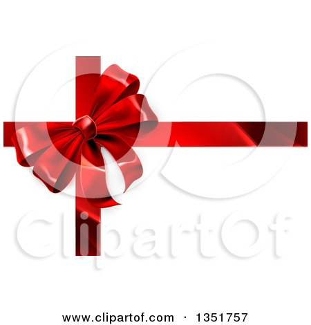 Clipart of a 3d Red Christmas, Birthday or Other Holiday Gift Bow and Ribbon on Shaded White - Royalty Free Vector Illustration by AtStockIllustration