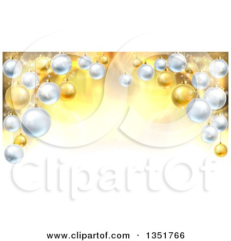 Clipart of a Christmas Background with a 3d Arch of Bauble Ornaments over Golden Magic Lights and Flares - Royalty Free Vector Illustration by AtStockIllustration
