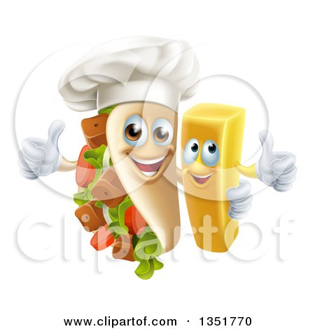 Clipart of a Cartoon Souvlaki Kebab Sandwich Chef Mascot and French Fry Character Giving Thumbs up - Royalty Free Vector Illustration by AtStockIllustration