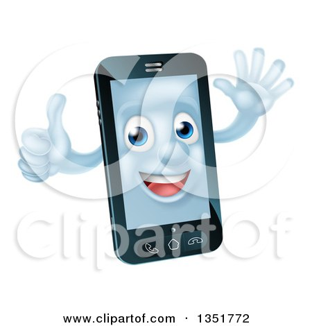 Clipart of a Cartoon Happy Cell Phone Character Waving and Giving a Thumb up - Royalty Free Vector Illustration by AtStockIllustration