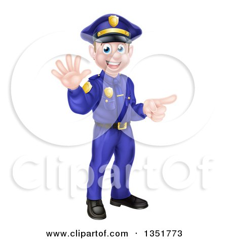 Clipart of a Cartoon Happy Caucasian Male Police Officer Waving and Pointing - Royalty Free Vector Illustration by AtStockIllustration