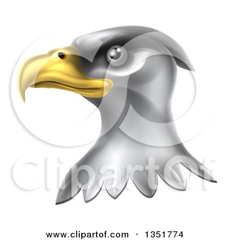 Clipart of a Shiny Silver Bald Eagle Head - Royalty Free Vector Illustration by AtStockIllustration