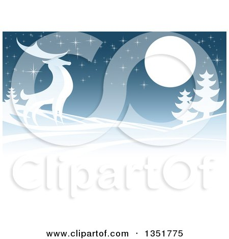 Clipart of a Winger Background of a Majestic Buck Deer in a Hilly Winter Landscape Under a Full Moon at Night - Royalty Free Vector Illustration by AtStockIllustration