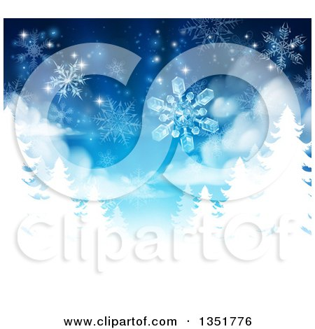 Clipart of a Christmas Background of Snowflakes Falling down over White Evergreen Winter Trees in Blue Tones - Royalty Free Vector Illustration by AtStockIllustration