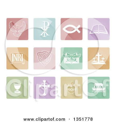 Clipart of Pastel Square Christian Icons and Symbols - Royalty Free Vector Illustration by AtStockIllustration