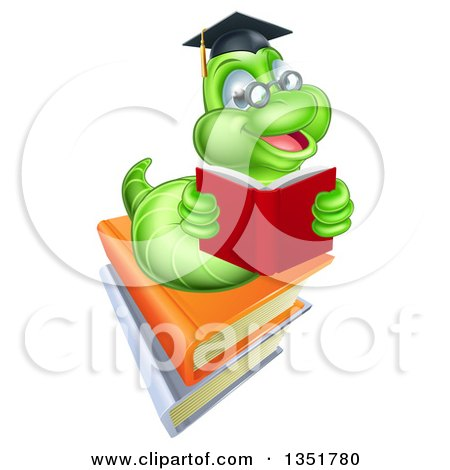 Clipart of a Happy Green Professor or Graduate Earthworm Reading on Books - Royalty Free Vector Illustration by AtStockIllustration