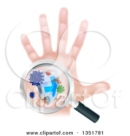Clipart of a Caucasian Antibacterial Hand with Germs, a Shield and Magnifying Glass - Royalty Free Vector Illustration by AtStockIllustration