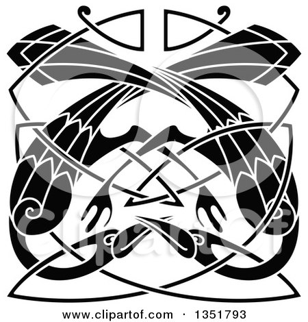 Clipart of Black and White Celtic Knot Cranes or Herons 5 - Royalty Free Vector Illustration by Vector Tradition SM