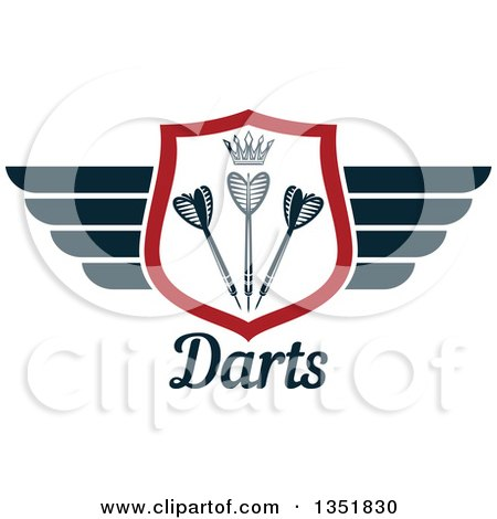 Clipart of a Winged Shield with a Crown and Throwing Darts over Text - Royalty Free Vector Illustration by Vector Tradition SM