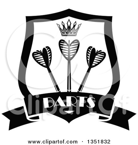 Clipart of a Black and White Shield with a Crown and Throwing Darts over a Text Banner - Royalty Free Vector Illustration by Vector Tradition SM