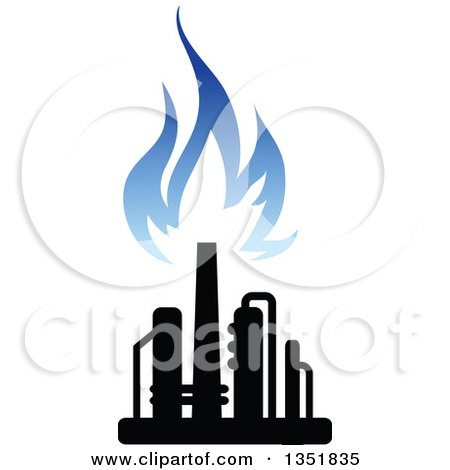Clipart of a Black and Blue Silhouetted Natural Gas and Flame Design 3 - Royalty Free Vector Illustration by Vector Tradition SM