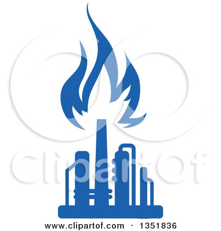 Clipart of a Silhouetted Blue Natural Gas and Flame Factory 10 - Royalty Free Vector Illustration by Vector Tradition SM