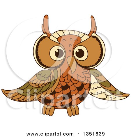 Clipart Of A Cute Brown Owl 2 Royalty Free Vector Illustration