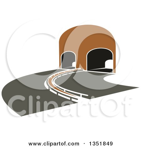 Clipart of a Highway Road Leading to a Tunnel - Royalty Free Vector Illustration by Vector Tradition SM