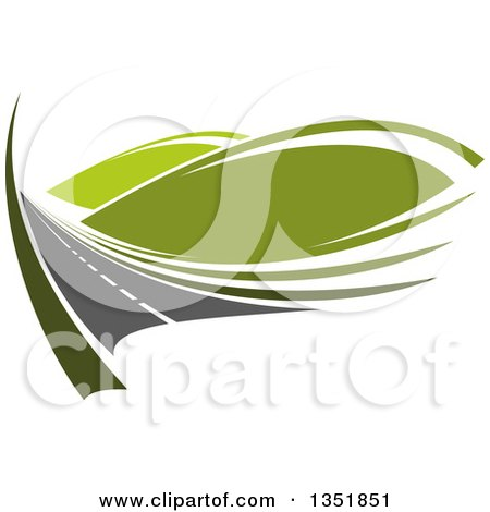Clipart of a Two Lane Road with Green Hills - Royalty Free Vector Illustration by Vector Tradition SM