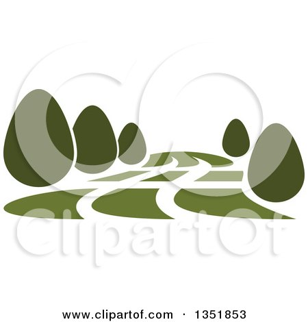 Clipart of a Park with Green Shrubs - Royalty Free Vector Illustration by Vector Tradition SM