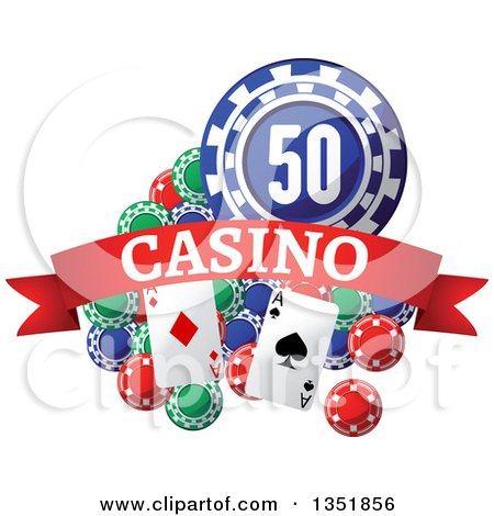 Clipart of Poker Chips and Playing Cards with a Red Casino Text Banner - Royalty Free Vector Illustration by Vector Tradition SM