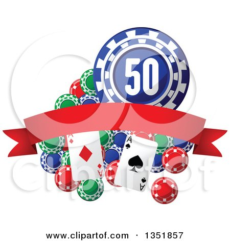 Clipart of Poker Chips and Playing Cards with a Red Blank Banner - Royalty Free Vector Illustration by Vector Tradition SM