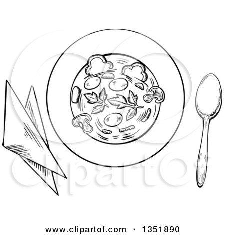 Clipart of a Black and White Sketched Bowl of Vegetable Soup with Napkins and a Spoon - Royalty Free Vector Illustration by Vector Tradition SM