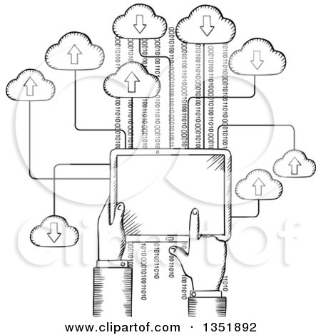 Clipart of a Black and White Sketched Hand Using a Tablet Computer on the Cloud - Royalty Free Vector Illustration by Vector Tradition SM