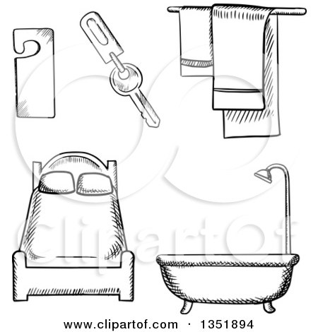 Clipart of Black and White Sketched Hotel Bed, Tub and Items - Royalty Free Vector Illustration by Vector Tradition SM