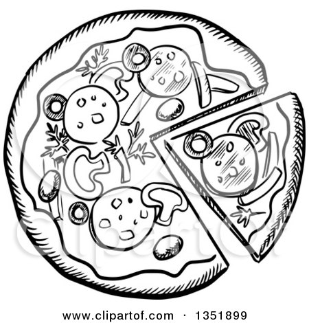 Clipart of a Black and White Sketched Pizza Pie - Royalty ...