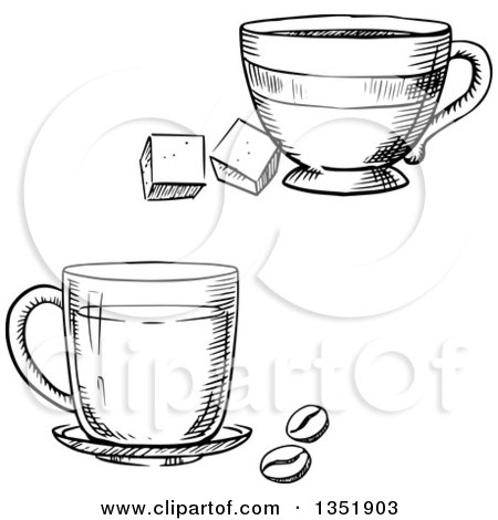 Black and White Sketched Coffee and Tea Cups Posters, Art Prints