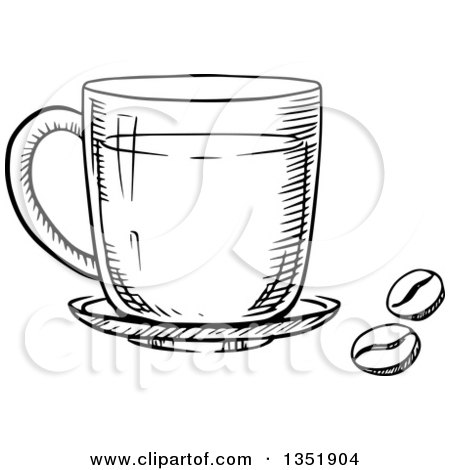 Black and White Sketched Coffee Cup and Beans