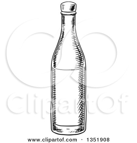 Clipart of a Black and White Sketched Wine Bottle - Royalty Free Vector Illustration by Vector Tradition SM