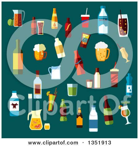 Flat Design Beverages over Teal Posters, Art Prints
