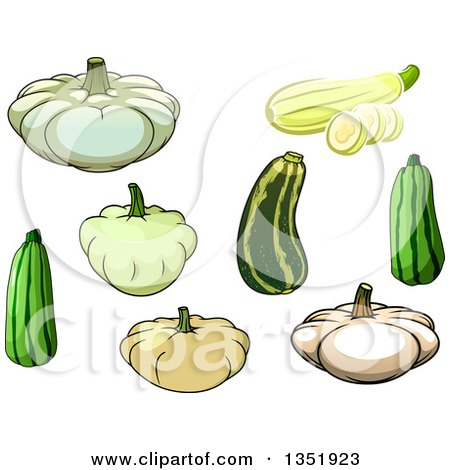 Clipart of Cartoon Squash and Zucchini - Royalty Free Vector Illustration by Vector Tradition SM