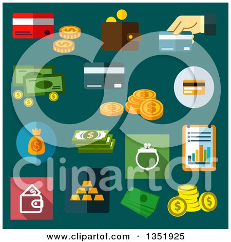 Clipart of Flat Design Money Icons on Teal - Royalty Free Vector Illustration by Vector Tradition SM