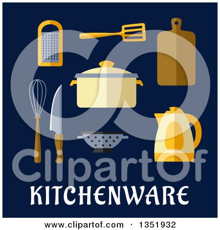 Clipart of a Flat Design Pot, Electric Kettle, Knife, Wooden Chopping Board, Whisk, Grater, Spatula and Colander over Kitchenware Text on Blue - Royalty Free Vector Illustration by Vector Tradition SM