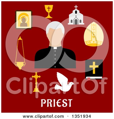 Clipart of a Flat Design Priest Avatar Surrounded by Items over Text on Red - Royalty Free Vector Illustration by Vector Tradition SM