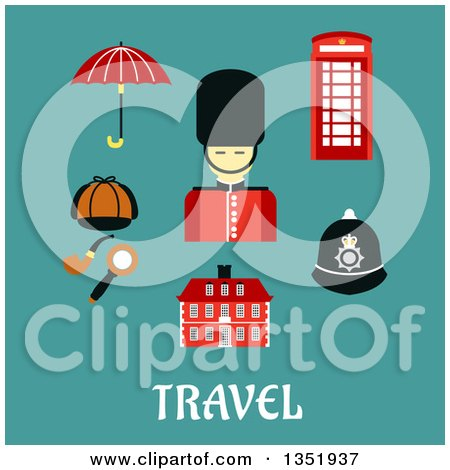 Clipart of a Flat Design British Beefeater Soldier, Telephone Booth, Police Helmet, Detective Cap, Pipe and Magnifier, Umbrella and Old Building over Text on Turquoise - Royalty Free Vector Illustration by Vector Tradition SM