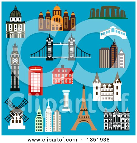 Clipart of Flat Design France, United Kingdom, Greece, USA, Australia and Italy Landmarks on Blue - Royalty Free Vector Illustration by Vector Tradition SM