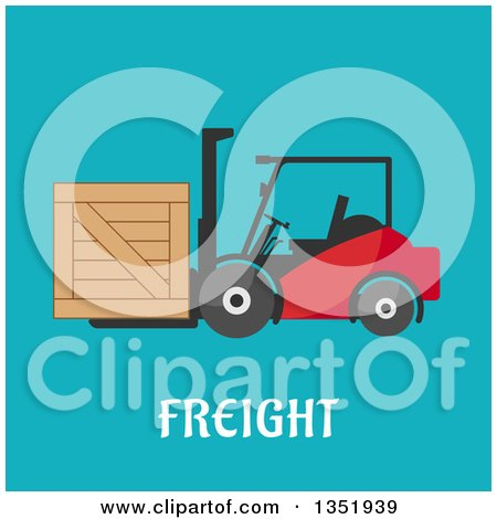 Clipart of a Flat Design Forklift Moving a Crate over Freight Text on Blue - Royalty Free Vector Illustration by Vector Tradition SM
