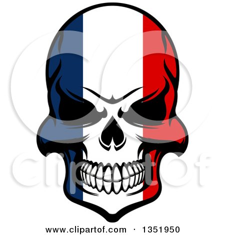Grinning Evil Skull in French Flag Colors Posters, Art Prints