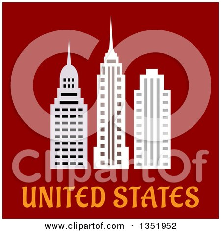 Clipart of Flat Design American Skyscrapers over Text on Red - Royalty Free Vector Illustration by Vector Tradition SM