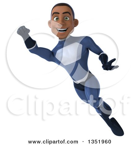 Clipart of a 3d Young Black Male Super Hero Flying in a Dark Blue Suit - Royalty Free Illustration by Julos
