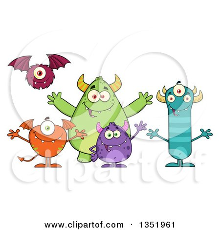 Clipart of a Group of Welcoming Monsters - Royalty Free Vector Illustration by Hit Toon
