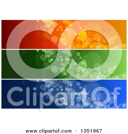 Clipart of Orange, Green and Blue Sparkle Website Header Banners - Royalty Free Vector Illustration by dero