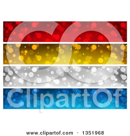 Clipart of Red, Gold, Silver and Blue Sparkle Website Header Banners - Royalty Free Vector Illustration by dero