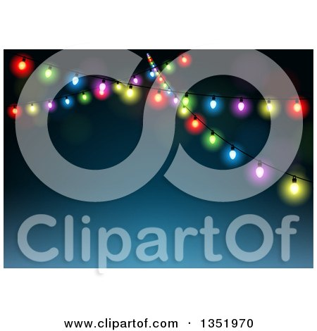 Clipart of Strands of Christmas Lights over Blue with Text Space - Royalty Free Vector Illustration by dero