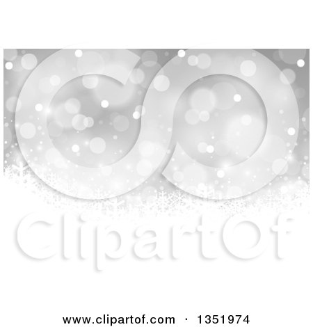 Clipart of a Gray Christmas Background with White Snowflakes - Royalty Free Vector Illustration by dero