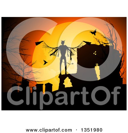 Clipart of a Halloween Background of a Silhouetted Devil in a Cemetery with Vampire Bats Against an Orange Full Moon - Royalty Free Vector Illustration by elaineitalia