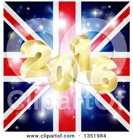 Clipart of a 3d Gold 2016 New Year Burst and Fireworks over a Union Jack Flag - Royalty Free Vector Illustration by AtStockIllustration