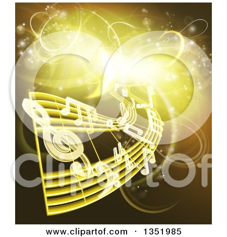 Clipart of Floating Sheet Music and Notes over Gold and Yellow Neon Lights - Royalty Free Vector Illustration by AtStockIllustration
